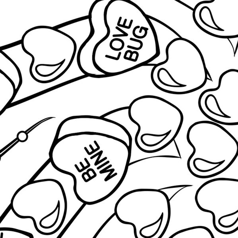 Valentine Candy Hearts Adult coloring page printable   Etsy