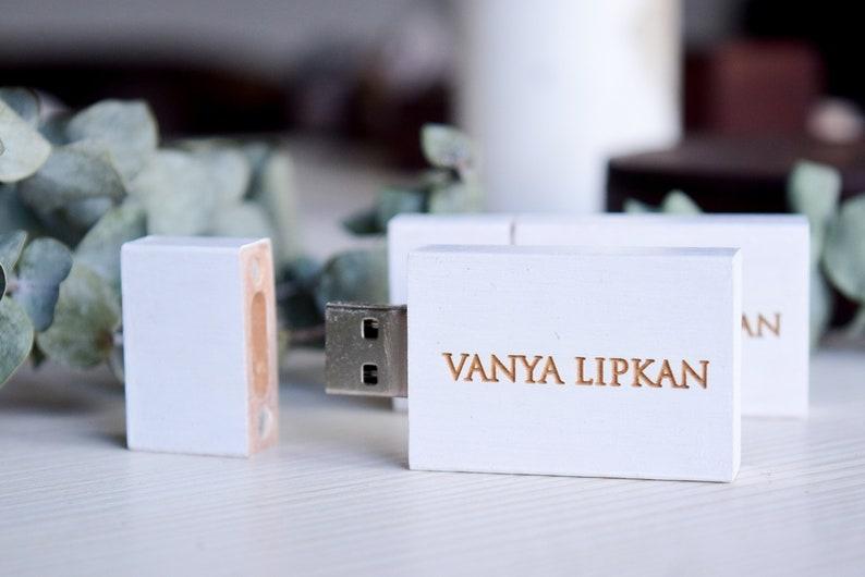 Set of 5 Free personalization White wooden USB memory stick 8 GB 16 GB