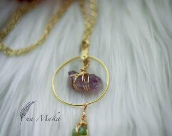 Amethyst and Peridot Necklace and Earring Set