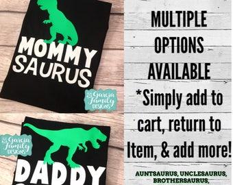 MommySaurus DaddySaurus Dinosaur Birthday Shirts Shirt Family Party AuntSaurus