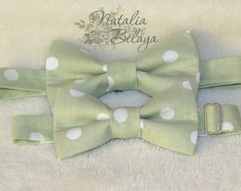 bd7c7b674f7a Father Son Bow Tie Set of 2, Handmade Pre tied Cotton Bow ties, Green Tea Bow  ties with dots, Birthday gift, Gift for Mens, Fathers Day Gift