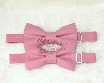 541db71f5596 Father Son Bow Tie Set, Handmade Pre-tied Bow ties, Dusty Pink Rosy Mauve Bow  ties, Mens and Boys Matching Bow ties, Solid Color Bow tie set