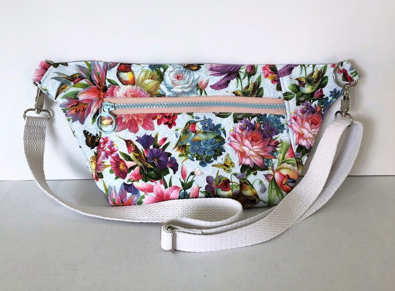 Hummingbirds Flowers and Butterfiles Day Pack Phone Pouch White Denim Lining and Pockets Adjustable Waist Strap Removable Strap