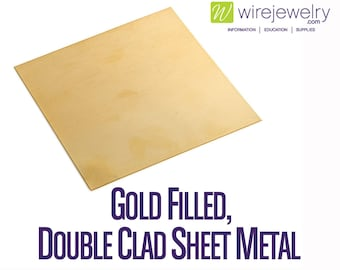 Gold Filled Sheet Metal, Double Clad, Half Hard, 4 Inch Width, Various Gauges and Lengths