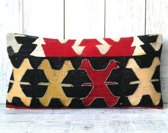 Kilim pillow wool pillow vintage turkish kilim pillow