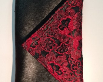 Black and red leather and lace clutch