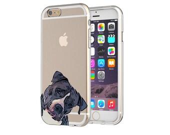 cde4f949c2b Cute Pitbull Dog Clear Transparent Apple iPhones Samsung Cases Embossed Uv  Print Design
