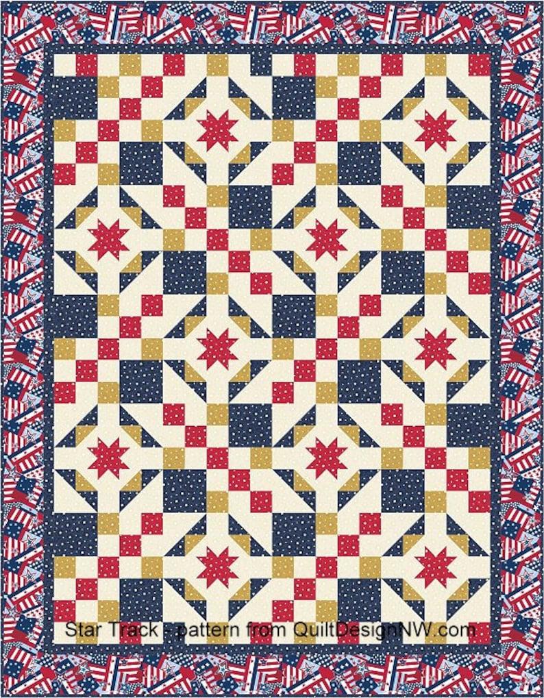 Star Track patriotic quilt pattern image 0