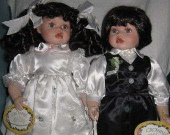 "Porcelain Twin Dolls 17"""