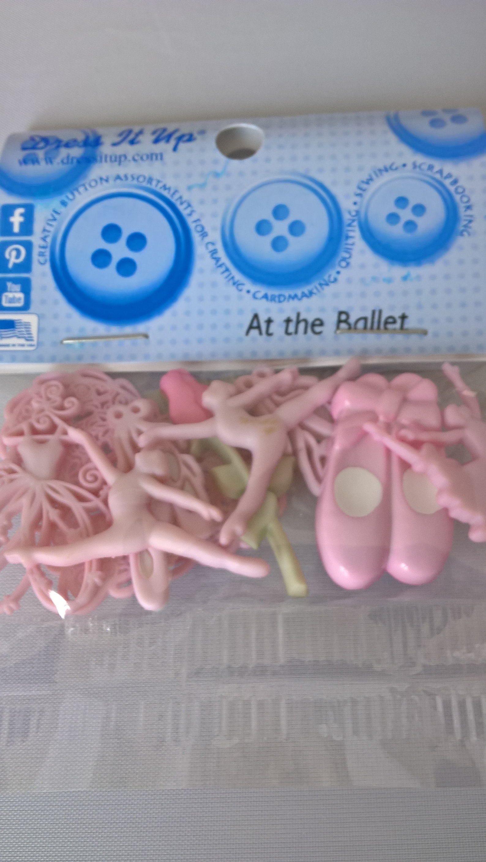 dress it up at the ballet button embellishment pack, ballet buttons, craft making supplies, scrapbooking supplies