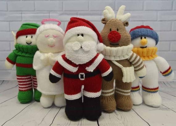 Festive Friends Santa Knitting Pattern Santa Knitted Doll Etsy