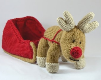 Reindeer and Sleigh Knitting Pattern, Toy Reindeer Knitting Pattern, Christmas Knitting Pattern, Rudolph Knitting Pattern, Table Decor