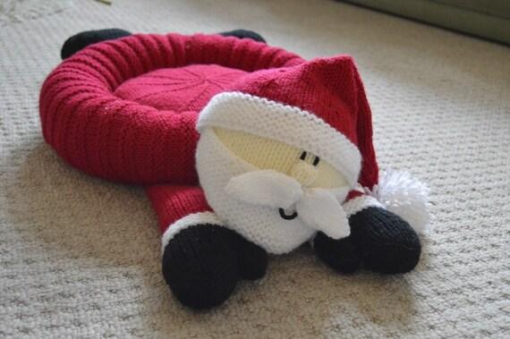Santa Pet Bed Strickmuster Weihnachten Tierbett Strickmuster | Etsy