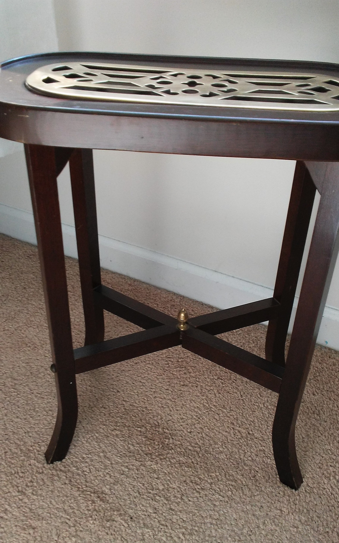 Vintage Oval Accent Table with Brass Insert