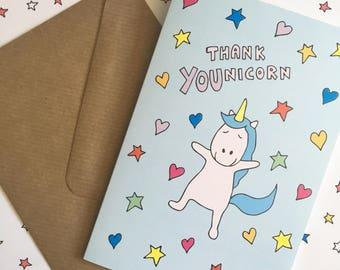 Funny thank you card, unicorn thank you card, unicorn card, sweet thank you card, animal thank you card, pun thank you card, punny card,
