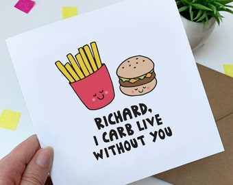 Personalised funny Valentine's card - burger and chips