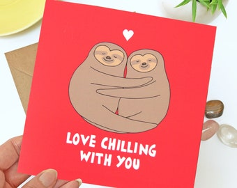 Sloth anniversary card for her