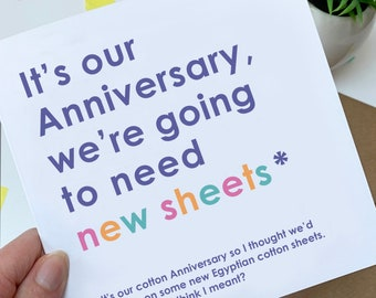 Funny cotton wedding anniversary card for him