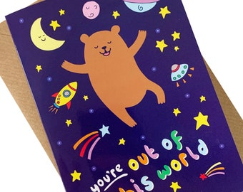 Adventures in CyBearSpace Space Bear Card
