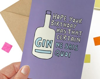 Gin birthday card for her