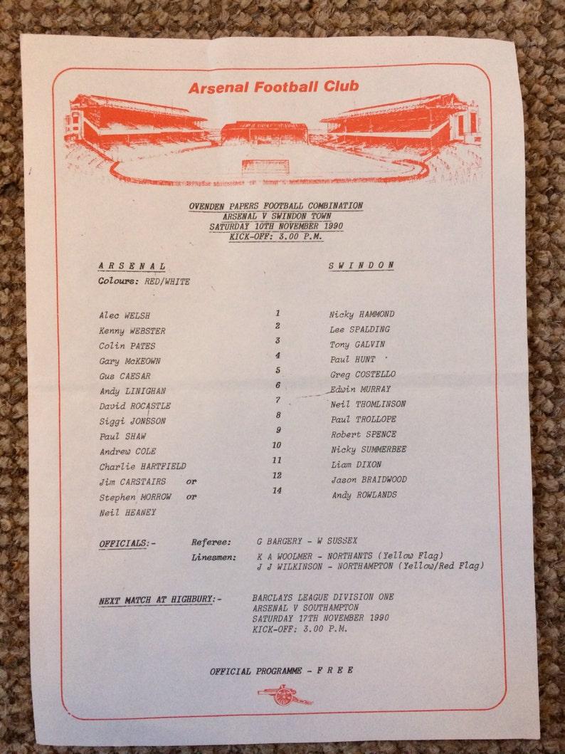 Unusual gift for him to frame - 1990 - Arsenal Reserves v Swindon Town  Reserves - rare sports memorabilia