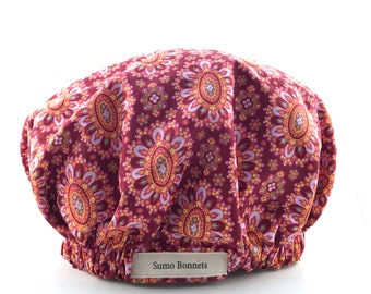 Magenta and Pink Oval Print Luxury Satin Lined Sleep Bonnet