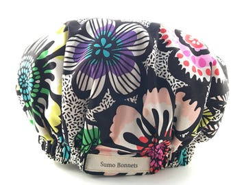 Black and White Graphic Floral Luxury Satin Lined Sleep Bonnet