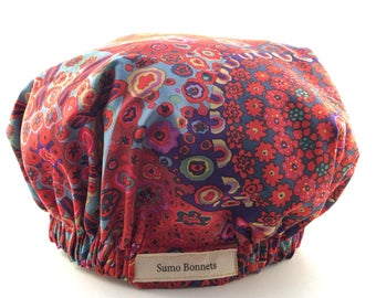 Multicolor Boho Red and Navy Floral Luxury Satin Lined Sleep Bonnet