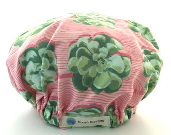 Pink and Green Succulent Print Luxury Satin Lined Sleep Cap