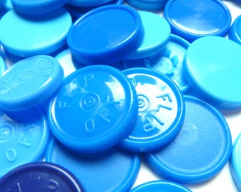 Assorted Blue Vial Caps, 22mm Medicine Vial Tops, Badge Reel Supply, Recycled Plastic Tops, Priced Per Ounce (About 55 pcs)