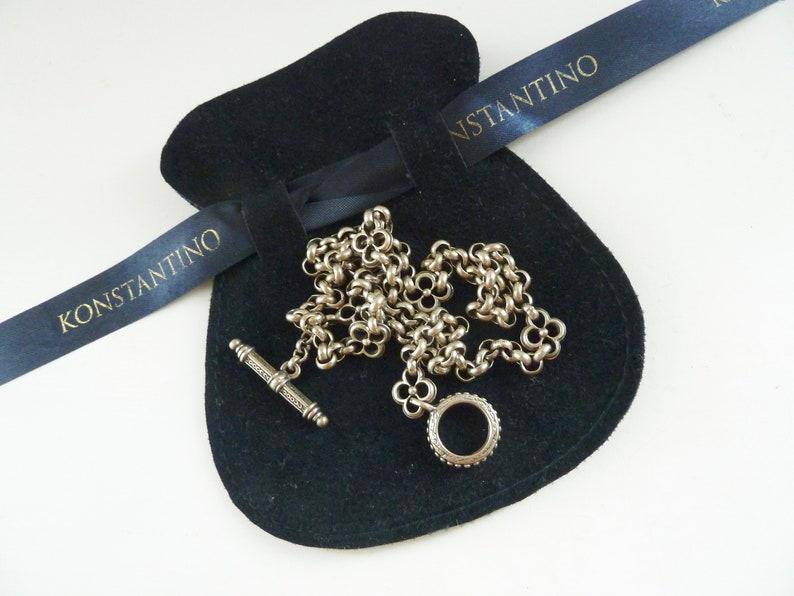 Vintage Konstantino Silver Necklace Classic Greek Designer Quartrefoil Six Station Sterling Necklace Toggle Closure Rolo Chain Necklace