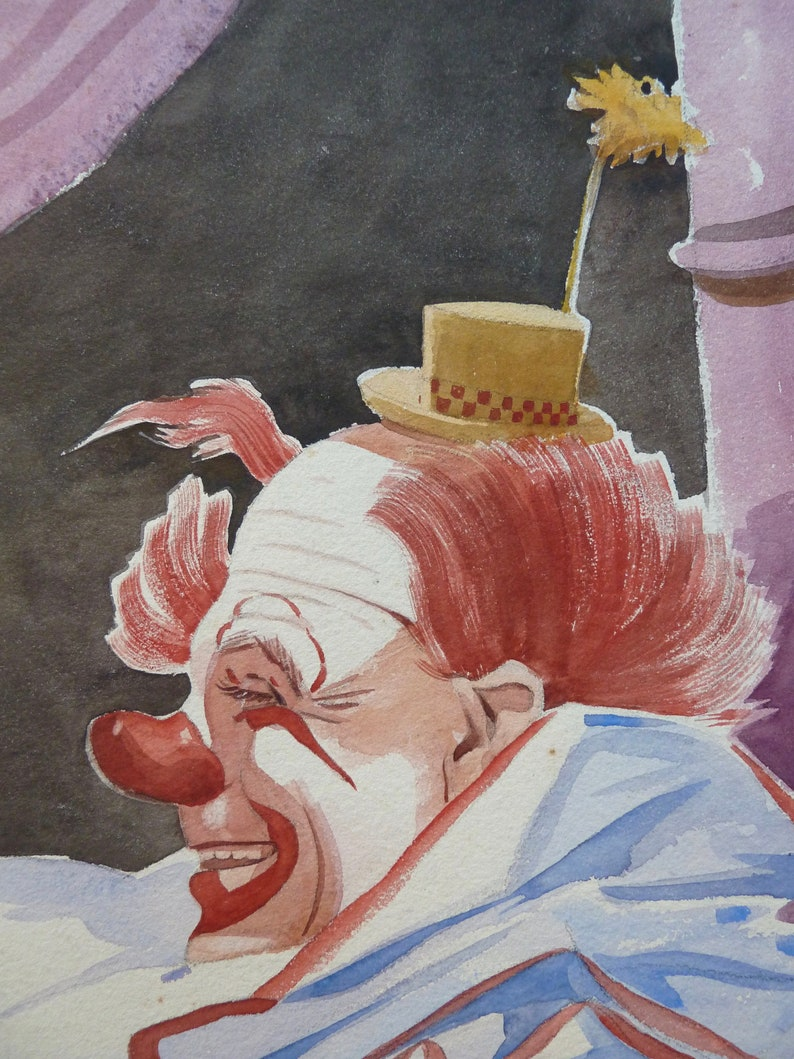 Original William Cruger Watercolor Signed Vintage Commercial Art Cheerful Child and Clown Free Shipping Circa 1930s