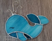 Stained glass whale window hanging