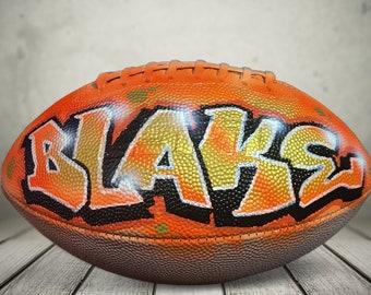 Personalized Football - Unique Airbrush Graffiti - Custom Painted - Regulation Size Sports Balls  - Game Ball Coach Gift