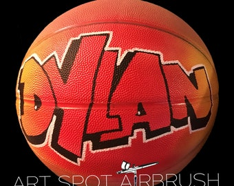 Basketball Customized with a Name On It - Custom Airbrush Art Design - Personalized Basketball Gift for Boy - Girl - Coach - Boyfriend - Dad