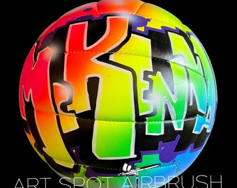Personalized Rainbow Volleyball - Custom Volleyball - Unique Gift for Coach, Girl or Boy - Airbrush Graffiti - Street Art - Painted Ball