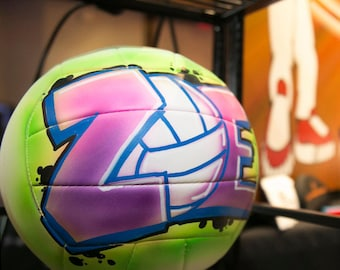 Personalized Volleyball With Design - FREE BALL STAND - Unique Gift for Coach, Girl or Boy - Airbrush Graffiti - Street Art - Painted Ball