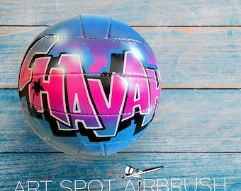 Personalized Volleyball - Custom Volleyball - Unique Gift for Coach, Girl or Boy - Airbrush Graffiti - Street Art - Painted Ball