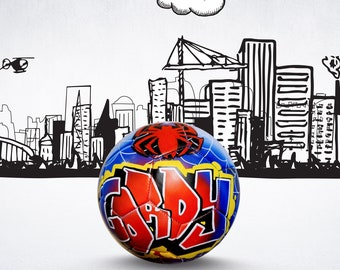 Personalized Soccer Ball & FREE BALL STAND!  Personalised Futbol with a Cartoon Design and Name in Graffiti Art Unique Soccer Gift for Child