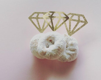Gold or silver diamond ring donut topper, cupcake topper, diamond toothpick, glitter bridal shower decor, wedding, engagement party