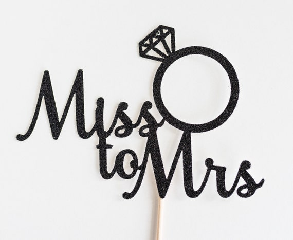 Bridal Shower Stagette Black Glitter Future Mrs Script Cake Topper Engagement Party Ring Bachelorette
