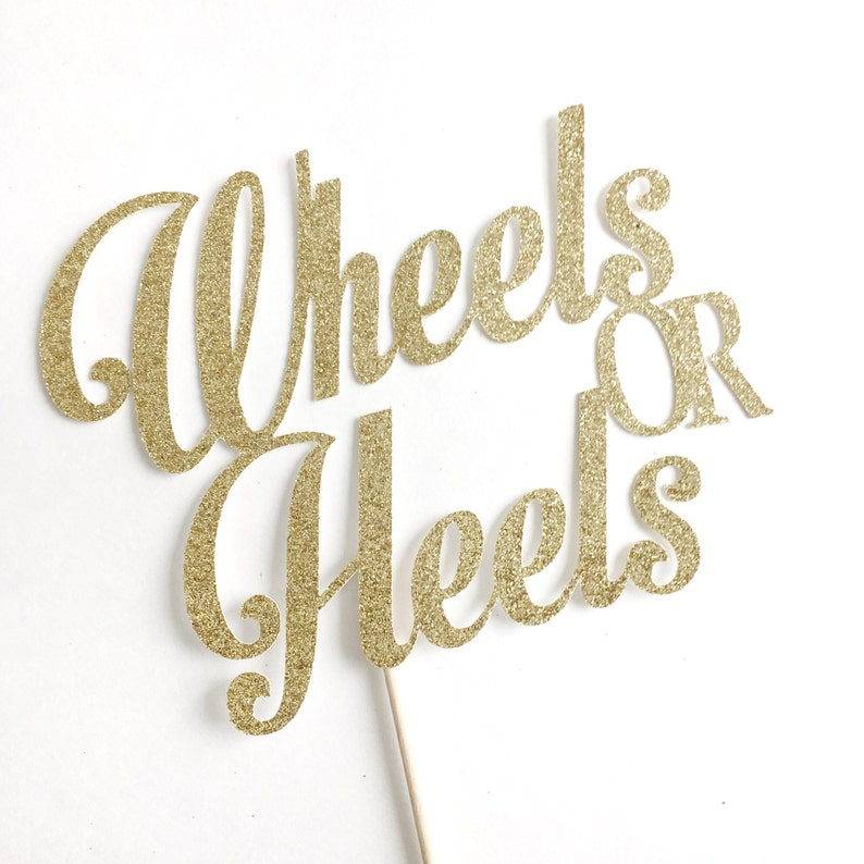 decor pink and blue themed Baby Shower party decoration Wheels or Heels Cake Topper gold glitter Boy or Girl Gender Reveal He or She