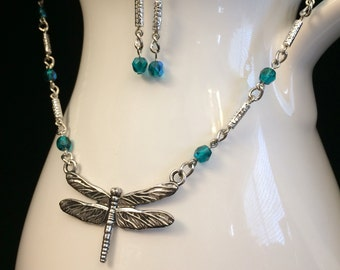 Dragonfly Beaded Chain Necklace and Earrings