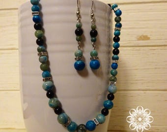 Seafaring - Jasper Necklace and Earring Set