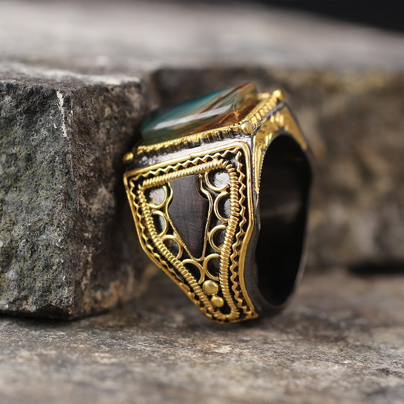 925 Sterling Silver and Yellowgold  Plated Handmade Mens Ring with Ebony and Natural Stone all size