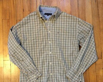91fccb30 Tommy Hilfiger Button Down Plaid Size Medium Mens Beige Brown Olive Green  Madras Long Sleeve Preppy Ivy League Cotton Flag Back To School