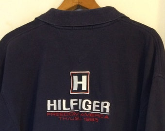 eabdda00 Tommy Hilfiger 1985 Vintage Zipper Polo with Large LOGO Embroidery Back  Branding Cotton XL Split Hem details Navy Freedom American Polo