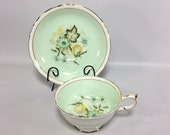 Paragon Double Warrant Tea Cup Saucer Wide Mouth Mint Green Spring Scallop Gold 1930-40s Unique Tea Cup Gift