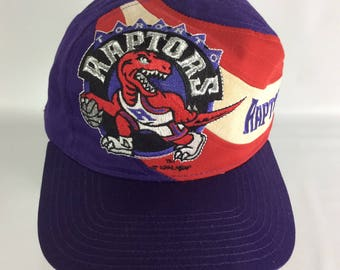 Vintage Toronto RAPTORS 1994 Big Logo Swoosh TWINS Snapback Hat Cap Tags  Dead Stock New Old Stock Basketball NBA Official 0658198a500e