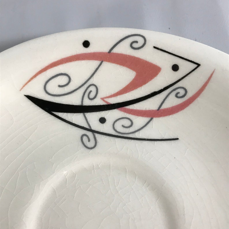 Mid Century Flair English China Louis Gordon Production Replacement Saucer 1950s Pink Black Silver Accents MOD design Hard to Find